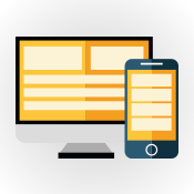 responsive mobile phone image, an illustration of responsive websites (round circle with phone showing website)